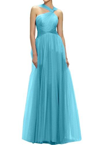 Sunvary Bodenlang Traeger Tuell Falte Neu 2016 Abendkleider Neu Ballkleid Partykleid Blau