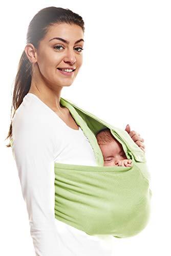 Wallaboo Tragetuch Connection, 100% Baumwolle, Passt sich der Form Ihres Baby genau an, Ergonomische Babytragetuch, Frabe: Grün