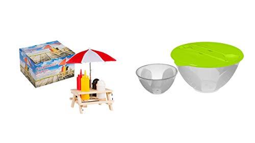Menage Set Picknicktisch mit Schirm Salzstreuer Pfefferstreuer Senf & Ketchup Ständer Grillzubehör mit Sonnenschirm und Tisch und Bank Gartenparty Gewürz Set + Salatschüssel mit Salatbesteck