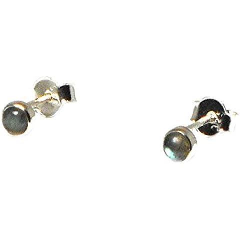 labradorite, forma rotonda, 4mm–orecchini in argento Sterling 925, in confezione regalo (ls0412152)