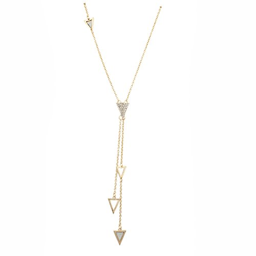 LUX Zubehör Gold Ton Kristall Pavé Strass Triangle Spike Y Halskette