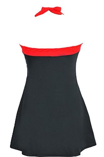 f1fbeac78885 Labelar Damen Schwimmenanzug Swimming Dress Badeanzug Neckholder Badekleid  Rock Große Plus Size Swimsuit Schwarz ...