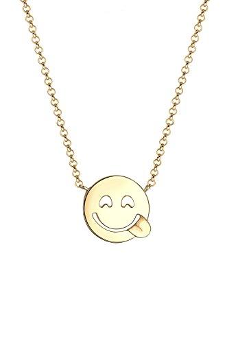 Elli Damen-Kette mit Anhänger Smiley 925 silber 45 cm 0108240216_45
