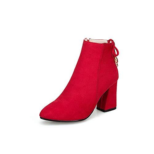 KEZIO Stivaletti alla Caviglia da Donna Cerniera Laterale Tacchi Alti a Tacco Alto Stivaletti con Zeppa Scarpe con Zeppa (Colore : Rosso, Size : 37.5 EU)