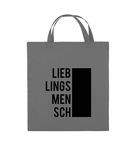 Comedy Bags - LIEBLINGSMENSCH - BLOCK - Jutebeutel - kurze Henkel - 38x42cm - Farbe: Schwarz / Pink Dunkelgrau / Schwarz