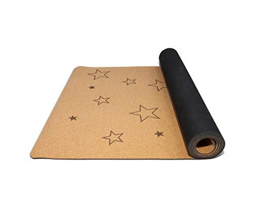 Secoroco Yogamatte Stars aus Kork für Kinder – rutschfest, vegan, nachhaltig und recycelbar – 155x61cm – Yoga Matte aus Kork & Kautschuk inklusive Yogatasche aus Leinen