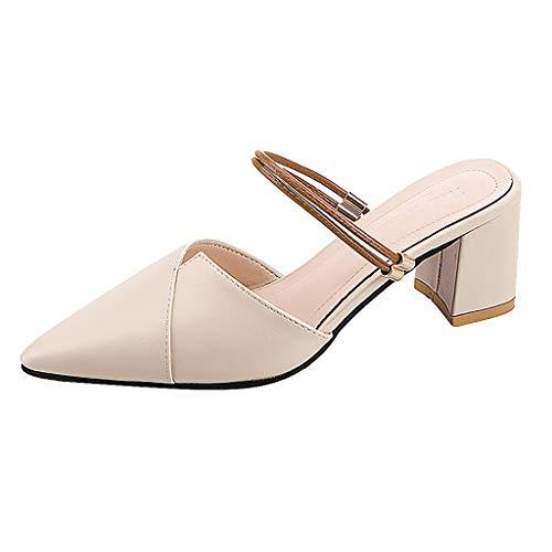 Tohole Damen Pumps Blockabsatz Pointed Toe Sandalen Damen Elegant Spitz Zehe Schuhe Leder Sandalen Mit Blockabsatz Vintage Römische Schuhe(beige,36 EU)