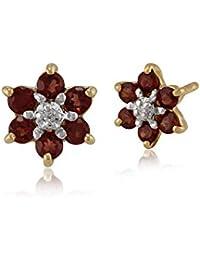 55a994c5f Gemondo Women 375 Gold 9ct Yellow Gold Round Six Garnet & Diamond Floral  Cluster Stud Earrings