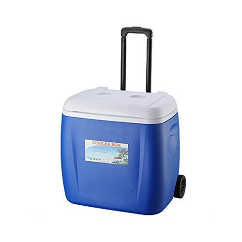 Elektrische Kühlbox mit Rollen-Deichsel Mobiler Große Kühlschrank tragbare Kompressor-Kühlbox, PU-Lebensmittelinkubator gekühlt frisch haltend Kälte, Auto und Camping, Reise