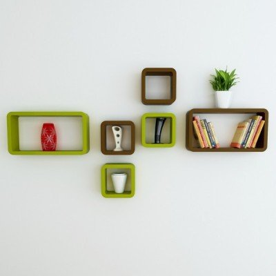 Custom Decor Wall Shelf Set of Six Designer Wall Rack Shelves -Green & Brown