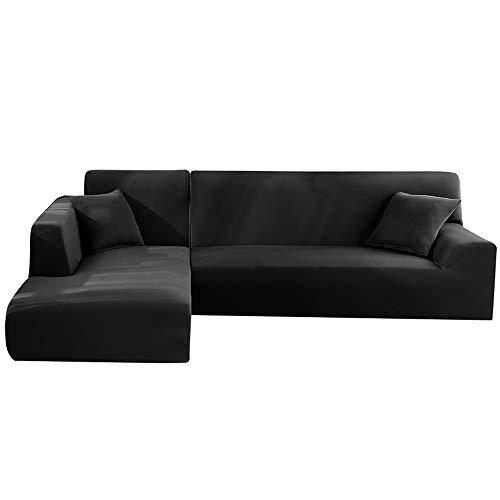 LITTLEGRASS Lot de 2 Housses de canapé élastiques en Forme de L, Noir, 3 Sitzer + 4 Sitzer
