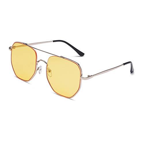 FIRM-CASE Quadrat-Sonnenbrille-Männer Retro- Metall großen Feld-Sun-Glas-Frauen Siamese Transparent Frames, 5