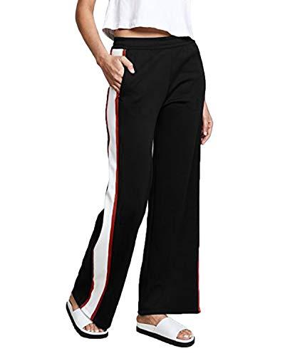 SUNNYME Femme Pantalon de Sport Rayure Pants Grande Taille Evasé Bas Casual Chic Jogging Yoga S-2XL Noir S