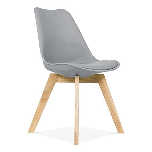 Enverra Design (lot de 2) Chaise de tulipe Plastique Bois rétro Chaises de salle à manger Blanc Noir Gris Rouge Jaune Orange Bleu