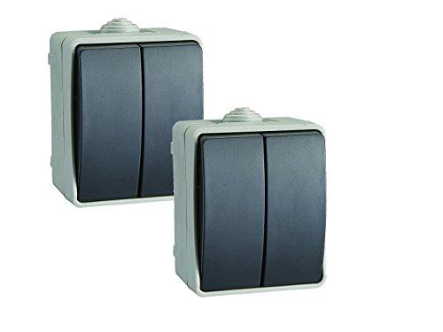 2er-Set Aufputz-Serienschalter / Wechselschalter Feuchtraumschalter, Kunststoff, IP54