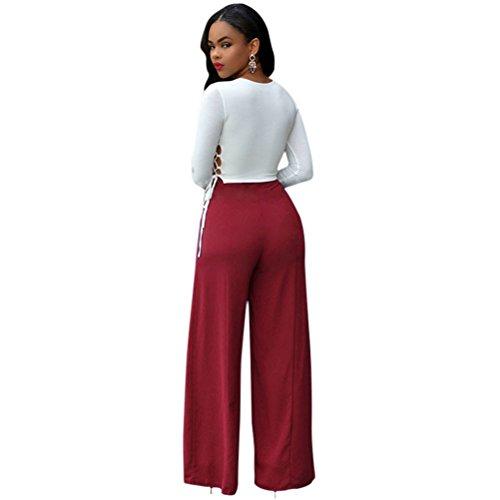 Femmes Sexy Crew Neck manches longues Cut Out haute taille pantalon large  pantalon costume Rot ...
