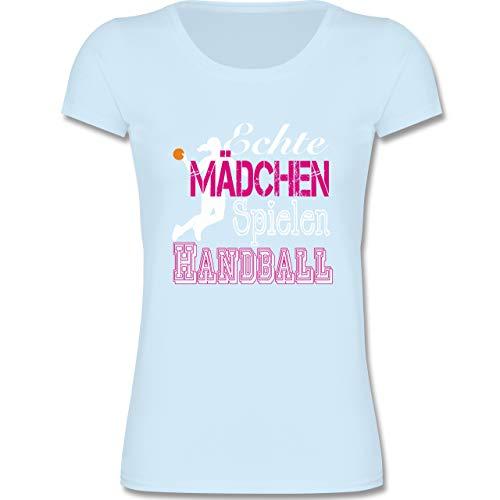 Sport Kind - Echte Mädchen Spielen Handball weiß - 152-164 (12-14 Jahre) - Babyblau - F288K - Mädchen T-Shirt