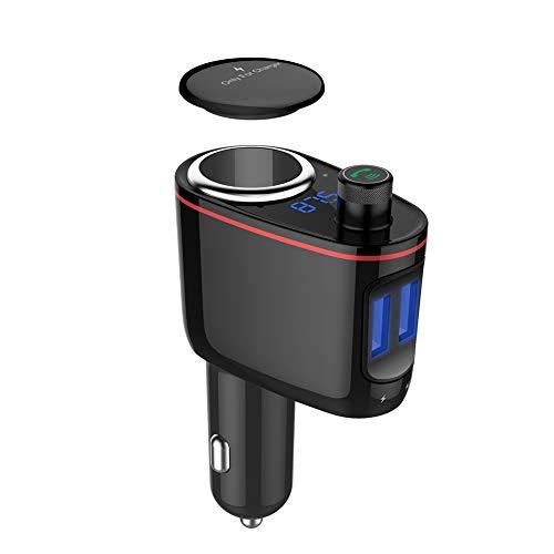 elegantstunning Caricabatterie da Auto Bluetooth cellulari Vivavoce Lettore MP3da 1a 2USB caricabatteria da Auto trasmettitore FM