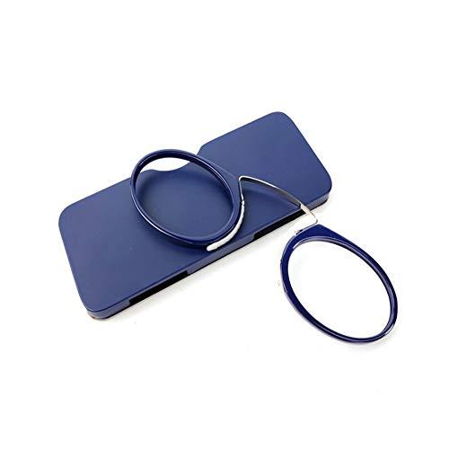 iSpchen Lesebrille tragbar Armlos Männer, Frauen, Stilvolle Frameless Presbyopic Brille mit Tasche, Mini Vergrößerung Glas Zum lesen Blau +3.0