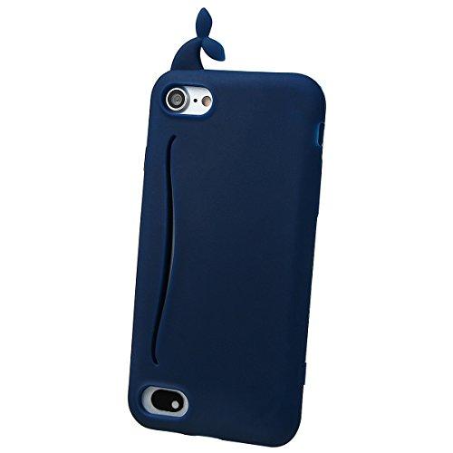 """xhorizon MSH Coque Housse Étui de silicone mignon en caoutchouc design queue de baleine lapin pour Apple iPhone 7 [5.5""""] avec film de protection en verre trempé 9H Marine"""