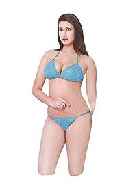 6dbc96801b Indiatrendzs Women Light Blue Stretchable Net Short Nighty With Lingerie  3pc Set