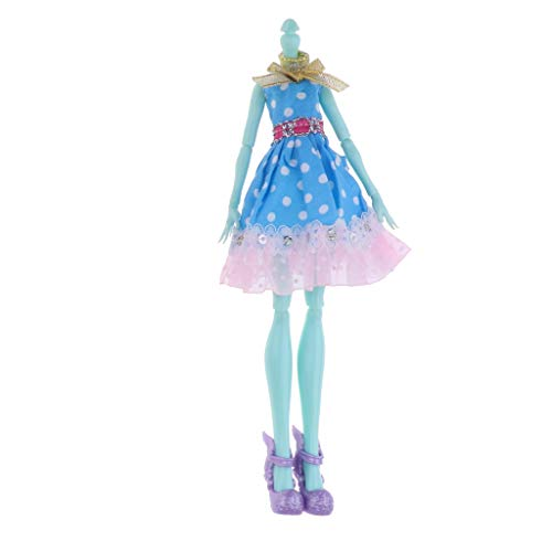 P Prettyia Gelenke Bewegliche Nacktpuppe Körper mit Kleid und Stiefel für Monster High Puppe - # ()