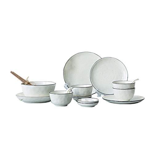 ZHAO YING Tinte Punkt Runde Linie Schwarz Grenze Keramik Haushalt Besteck Set Platte Job Suppenschüssel Set (Farbe : Weiß)