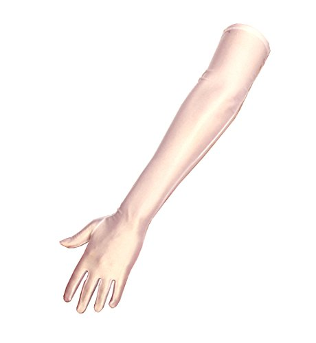 shop-dich-chic lange Satinhandschuhe in schwarz, rot oder weiss ca.53cm, Weiß, Onesize (S-M)