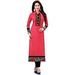 Yeoja Creation Women's Cotton Kurti (Pinkkurti07_Pink_Free Size, Semi-Stitched )