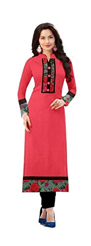 Yeoja Creation Woman\'s Pink Cottan Semi-Stitched Kurti (Pink_kurti_Free_size)