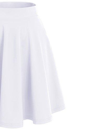 Bridesmay Damen Mini Rock Basic Solid vielseitige dehnbaren informell Minikleid Retro Sexy Rock Faltenrock Midi-White