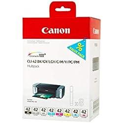 Canon CLI-42 Cartouche BK/C/M/Y/PC/PM/GY/LGY Multipack Noir, Cyan, Magenta, Jaune, Photo Cyan, Photo Magenta, Gris, Gris Clair (Multipack plastique)