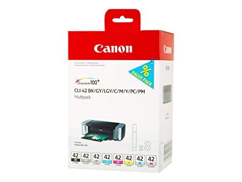 Cyan Canon Inkjet-patronen (Canon CLI-42 8 original Tintenpatrone Multipack BK/GY/LGY/C/M/Y/PC/PM für Pixma Inkjet Drucker PRO100-PRO100S)