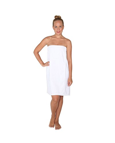 Saunakilt für Damen, 100% BIO-Baumwolle-Frottee, knielang, mit Gummizug und Klettverschluss Weiß
