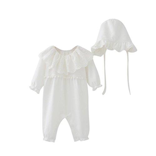 Bekleidung Longra Neugeborenes Baby Mdchen Strampler Bodysuit Jumpsuit Kleidung Set + Mtze Hte Baby Langarm Overall Spielanzug Babykleidung (0-18Monate), Wei, 60CM 6Monate