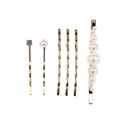 Homeofying Haarspange für Mädchen, Kunstperlen, Strass, lang, 6 Stück - Perle Silber Beine