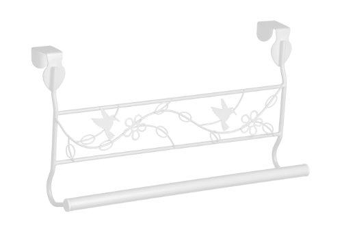 Premier Housewares 1601436 Paradise Porta Asciugamano Appendibile per Porta, Adatto a Porte Fino a 4 Centimetri di Spessore, Metallo Verniciato a Polvere, Bianco
