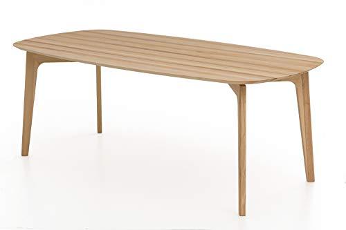 Woodlive Massivholztisch Esstisch massiv in Kernbuche geölt, moderner Wohnzimmertisch mit Holzfüßen (140x90 cm)