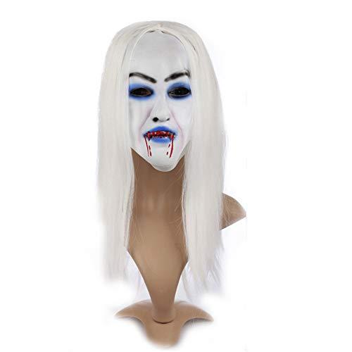 Halloween Horror Maske Weiß unter Einem blutigen Kleid, Addobbi und Dekoration für ()