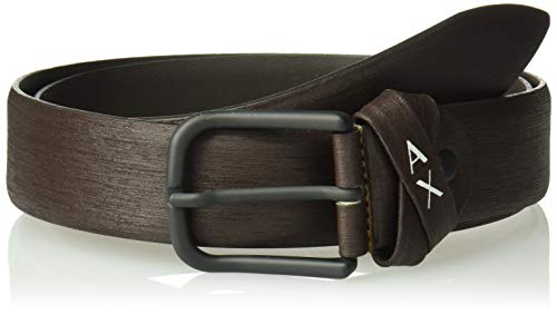 Armani Exchange A|X Herren Skinny Leather Belt With Square Buckle Gürtel, Dunkelbraun, 32 -