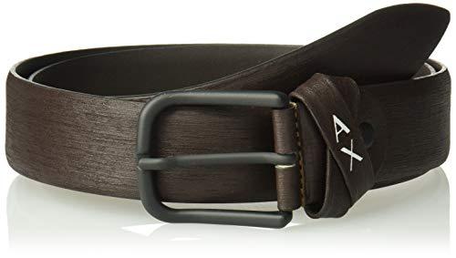 Armani Exchange A|X Herren Skinny Leather Belt With Square Buckle Gürtel, Dunkelbraun, 32 -