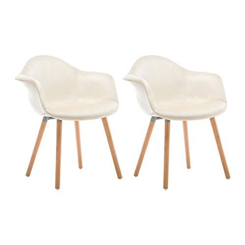 WOLTU Esszimmerstühle BH135cm-2 2er Set Küchenstuhl Wohnzimmerstuhl Polsterstuhl Design Stuhl mit Armlehne, Sitzfläche aus Samt, Gestell aus Massivholz, Cremeweiß