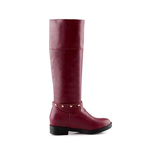 AgooLar Damen Ziehen auf Flaum Futter Rein Rund Zehe Stiefel, Weinrot, 36