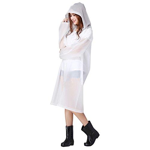 Poncho de Pluie Raincoat Elégant Mode Veste/Vêtement/Cape de Pluie à Capuche EVA Environnement Longue Manteau Imperméable Epaissir Imper pour Adulte Blanc