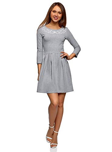 oodji Ultra Femme Robe en Maille avec Imprimé, Gris, FR 38 / S