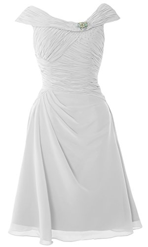 MACloth Women V Neck Sequin Long Bridesmaid Dress 2017 Wedding Party Formal Gown Blanc