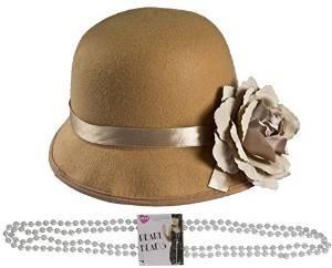 ILOVEFANCYDRESS Lady BLUMENTOPF Hut MIT Einer Plastik PERLEN Kette DER Hut IST IN BEIGE MIT Einer GROSSEN BEIGEN Blume - Blumentopf Fancy Dress Kostüm
