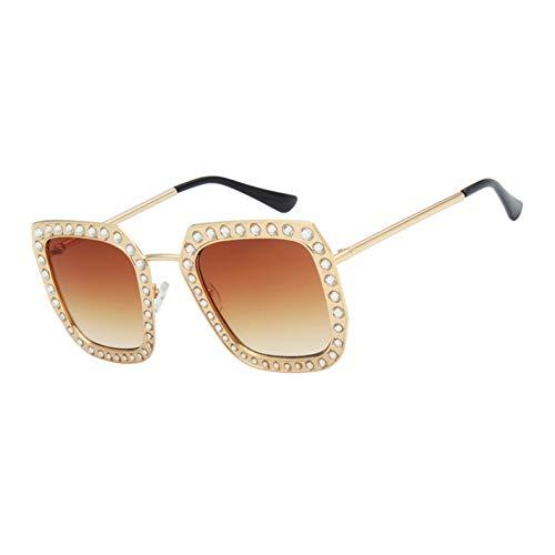 Yuanz Quadratische Sonnenbrille-Frauen-Marken-übergroße Kristallart- und weisesonnenbrille-weibliche Legierungs-Brillen Oculos Uv400,C04
