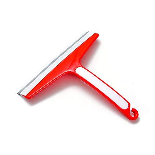 Delavak Duschwischer Duschabzieher Rakel für Badezimmer Dusche Tür, Fenster, Spiegel, Auto Glas mit Hand Haken, Rot