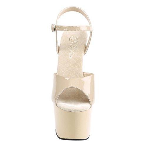 Pleaser Damen Adore-709 Offene Sandalen Beige (Cream Pat/ Cream)
